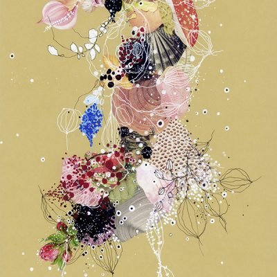 """jenny brown, 'cavernous goldenrod', 2019, pen, ink, acrylic and collage on art board, 13"""" x 16"""""""