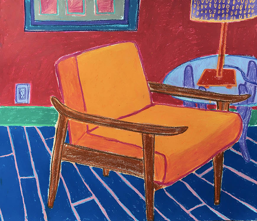 "elisa hamilton, 'have a seat II', 2020, crayon, ink gouache and oil pastel on paper, 16.25"" x 19.5"""