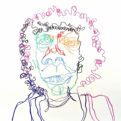"""elisa hamilton, drawing from the 'underline' series, 2019, multicolor on white and crayon on paper, 22"""" x 22"""""""