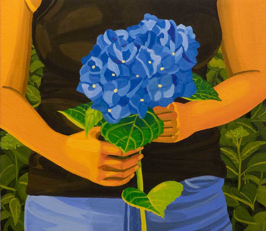 "helena wurzel, 'blue hydrangea', 2018, oil on canvas, 14"" x 16"""