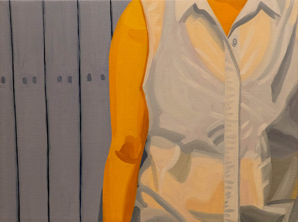"helena wurzel, 'white collar', 2018, oil on canvas, 12"" x 16"""