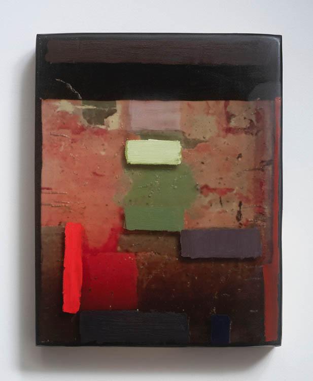 "jjennifer liston munson, 'alcazar toledo, spain #1', 2019, archival pigment, oil, resin and wood, 14"" x 9"""