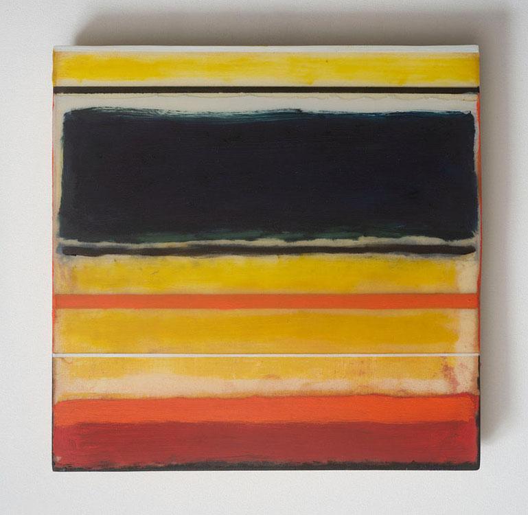 "jennifer liston munson, 'mexico #4', 2018, oil, resin and wood, 12"" x 12"""