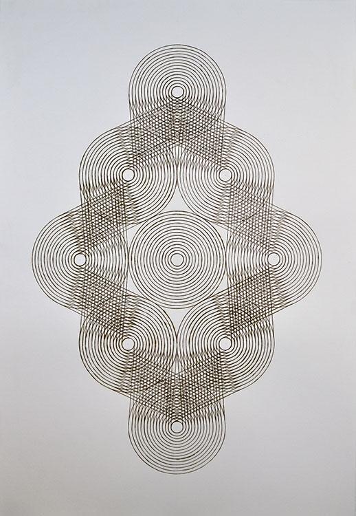"katrine hildebrand, 'joined', 2020, hand burnt lines on paper, 44"" x 30.5"""