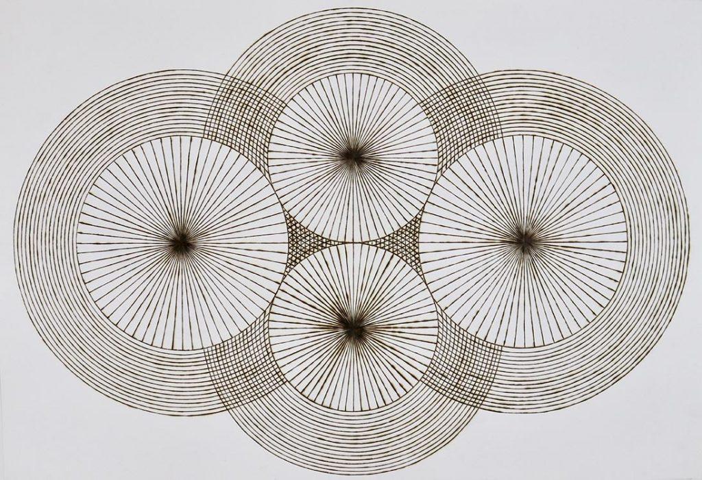 "katrine hildebrand, 'vibrational points', 2020, hand burnt lines on paper, 30.5"" x 44"""