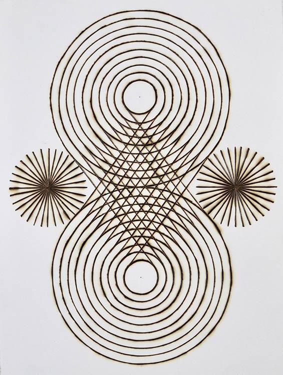"katrine hildebrand, 'woven diamond', 2020, hand burnt lines on paper, 12"" x 9"""