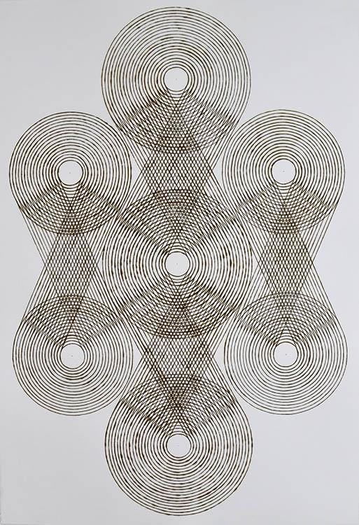 "katrine hildebrand, 'woven orbit', 2020, hand burnt lines on paper, 44"" x 30.5"""