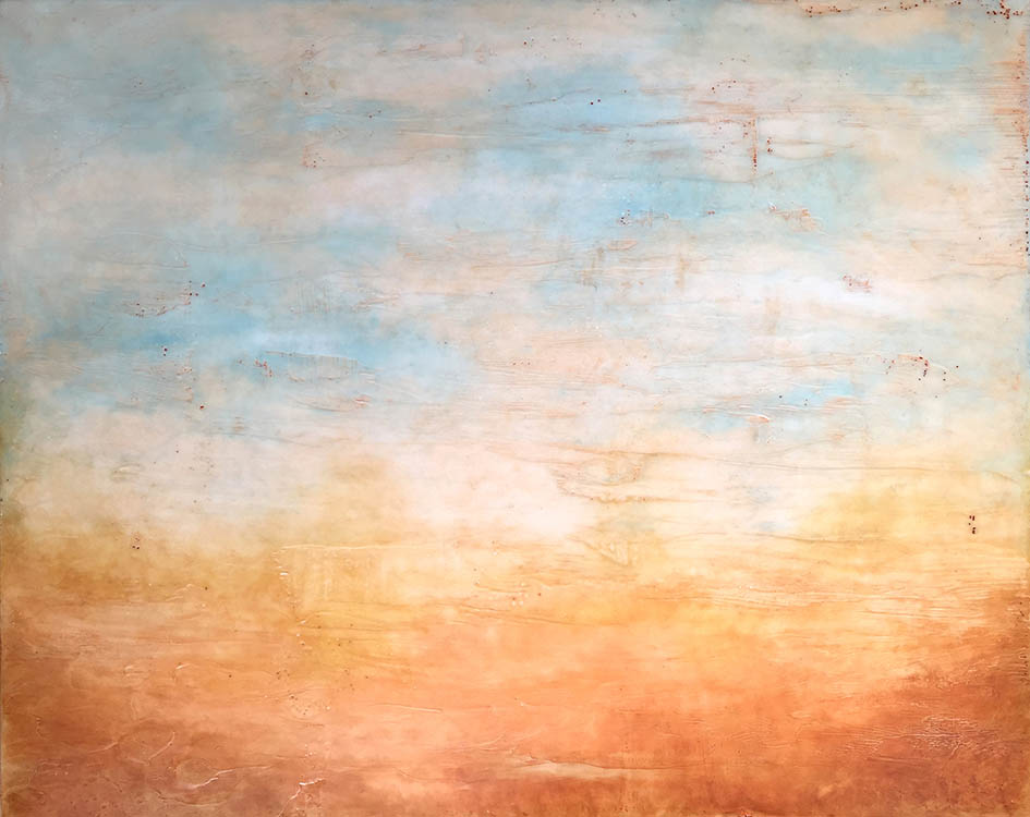 "linda cordner, 'morning glow', 2016, encaustic on board, 24"" x 36"""