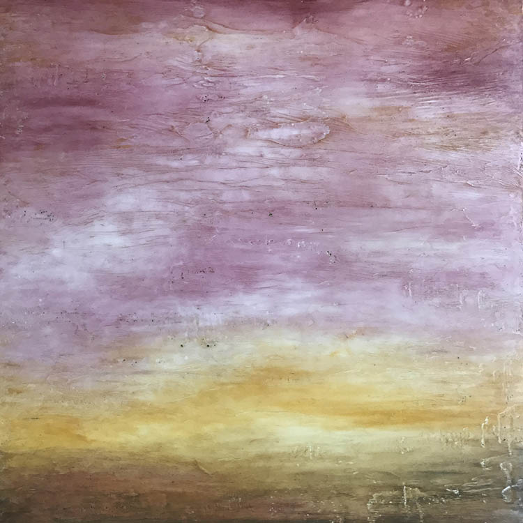 "linda cordner, 'rose sky', 2017, encaustic on board, 24"" x 24"""