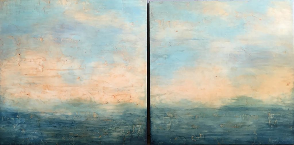 "linda cordner, 'the rolling sea', 2016, encaustic on board, 30"" x 60"" diptych"