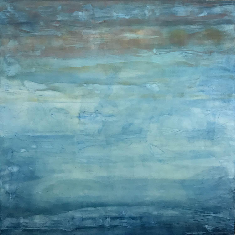 "linda cordner, 'winter sky', 2019, encaustic on board, 24"" x 24"""