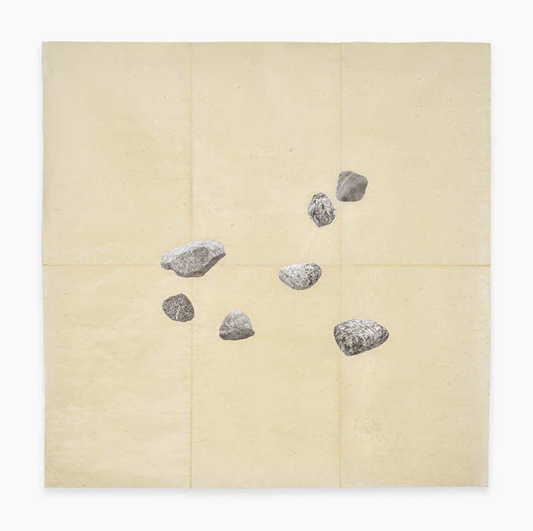 "meg alexander, 'estabrook rocks (field)', 2016, india ink, acrylic gesso and absorbent ground on nepal paper, 61"" x 61"""