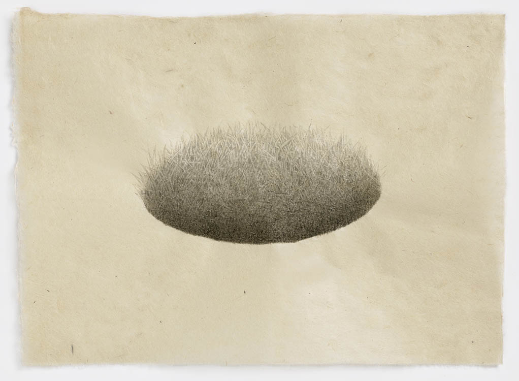 "meg alexander, 'hill/hole (hole #2)', 2018, india ink on nepal paper, 7.5"" x 10.63"""