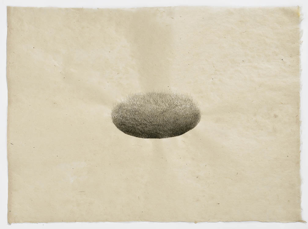 "meg alexander, 'hill/hole (hole #3)', 2018, india ink on nepal paper, 7.5"" x 10.63"""