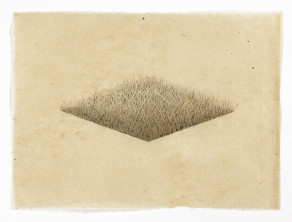 "meg alexander, 'hill/hole (diamond hole)', 2017, india ink on nepal paper, 7.75"" x 10.63"""