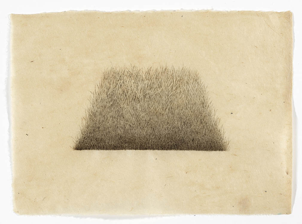 "meg alexander, 'hill/hole (trapezoid hole #2)', 2017, india ink on nepal paper, 7.5"" x 10.63"""