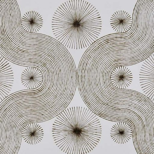"katrine hildebrand, 'pivotal points', 2020, hand burnt lines on paper, 30.5"" x 44"""