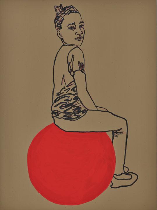 "roberta paul, 'naomie #6', 2016, water based paint on panel, 16"" x 12"""