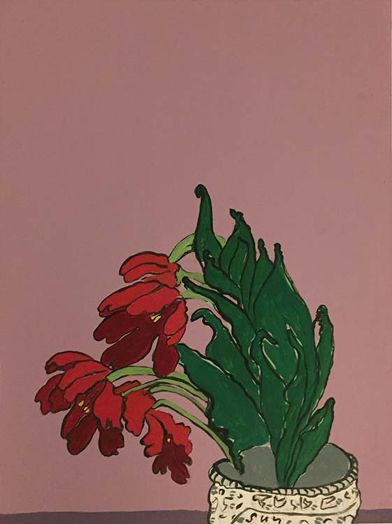 "roberta paul, 'bloom #1', 2020, gouache on panel, 16"" x 12"""