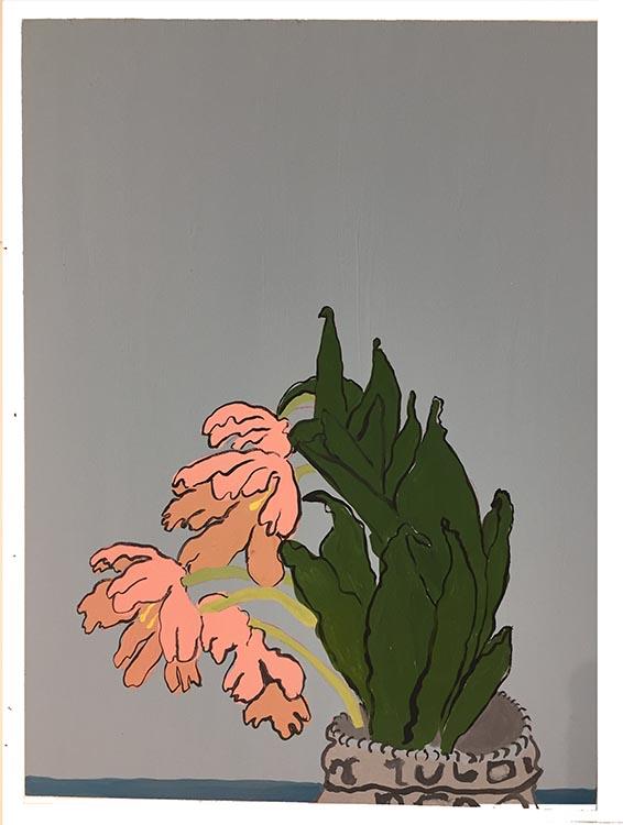 "roberta paul, 'bloom #3', 2020, gouache on panel, 16"" x 12"""