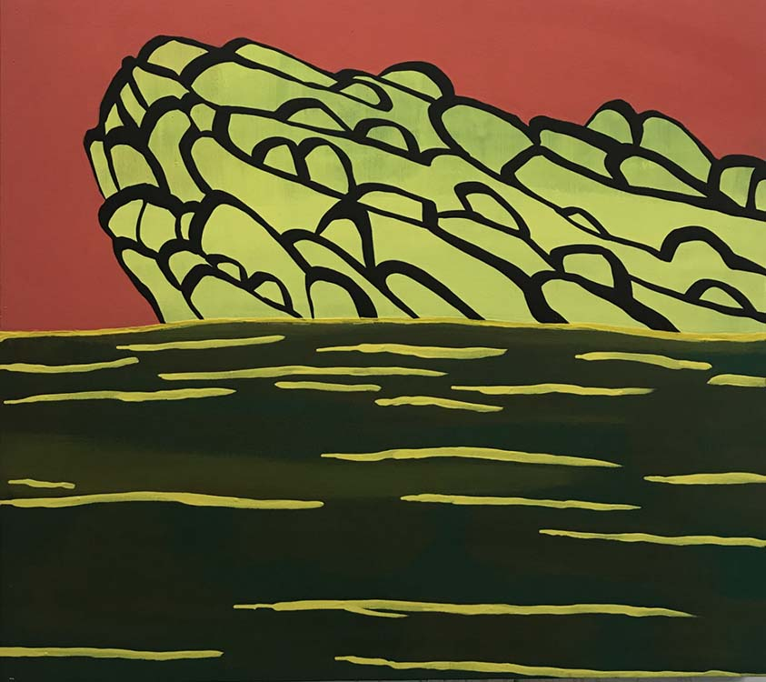 Sue McNally, Spring Puddingstone, 2020, Acrylic on canvas, 36 in. wide x 32 in. high, 6800.00