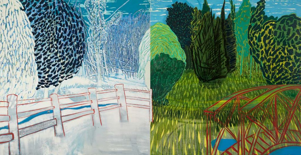 Sue McNally, The Same But Different, CT, 2018, Diptych, 128 inches wide by 66 inches high, oil on canvas, 19,4000.00