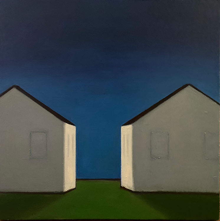 celine mdonald, 2 halves, 2020, oil on wood, 20 x 20 in., 2200.00