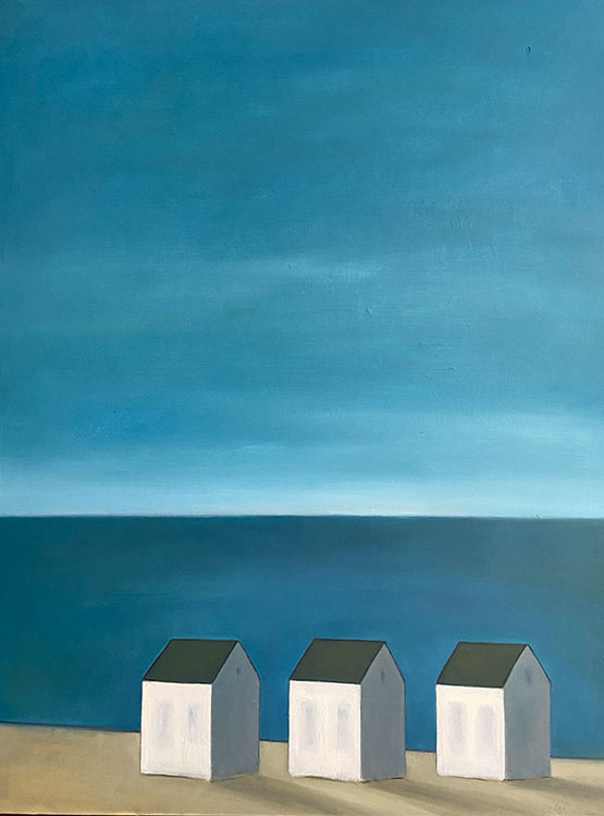 celine mcdonald, 3 dwellings with blue sky, Oil on wood, 30 x 40 in., 3900.00