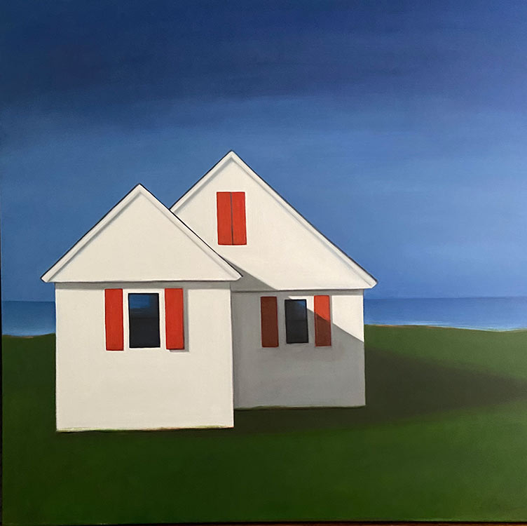celine mcdonald, dwelling with red shutters, 2020, Oil on paper on wood, 8 x 8 in., 575.00