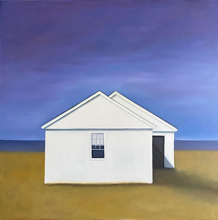 celine mcdonald, 1 dwelling with purple sky, 2020, Oil on canvas, 40 x 40 in., 4400.00