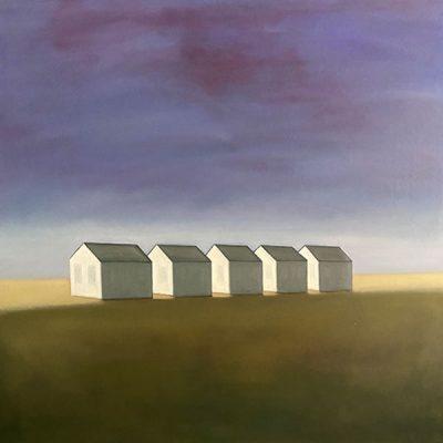 celine mcdonald, 5 dwellings with purple sky, 2019, oil on canvas, 48 x 48 in., 5200.00